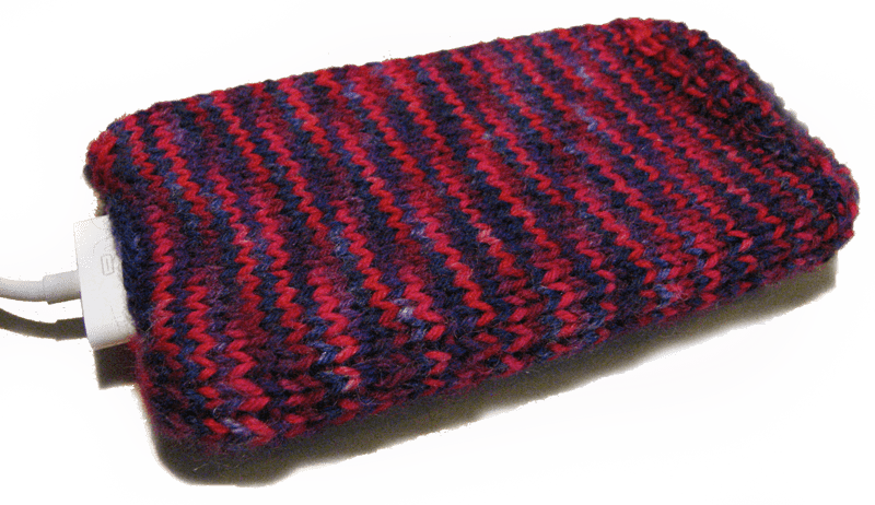 """Knitted iPhone cozy pattern made with """"fiesta"""" sock yarn"""