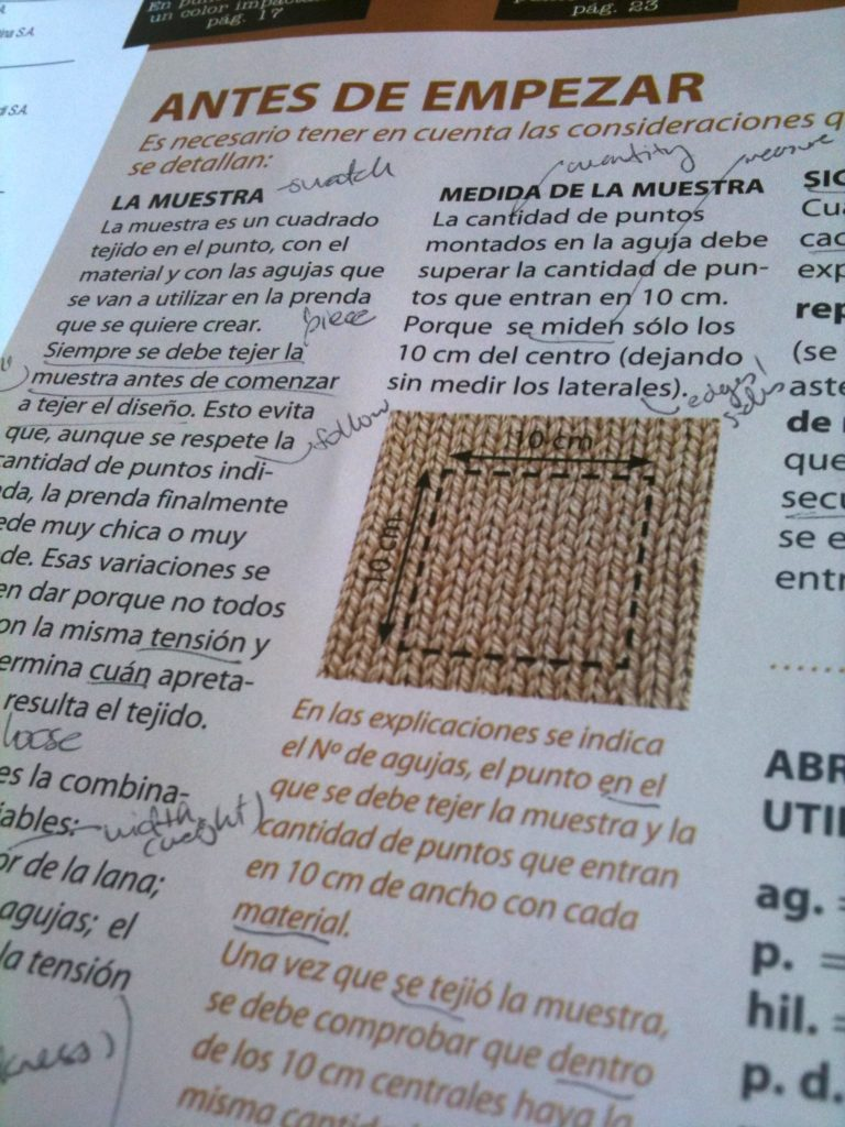 A page from a Spanish-language knitting magazine