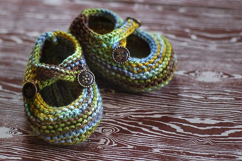 Saartje's Booties - green and blue baby booties