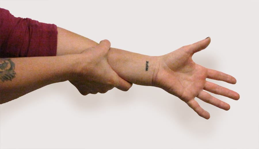 Myofascial stretch for forearm and hand stiffness