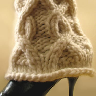 Bulky Cabled Legwarmers - White