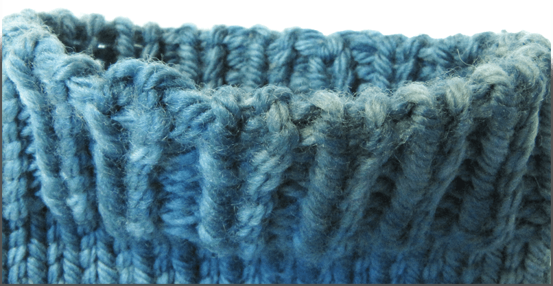 Invisible Ribbed Bind-Off shown on a toe-up sock