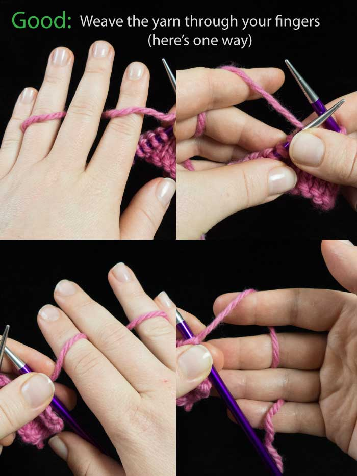 Weave your yarn properly through your fingers