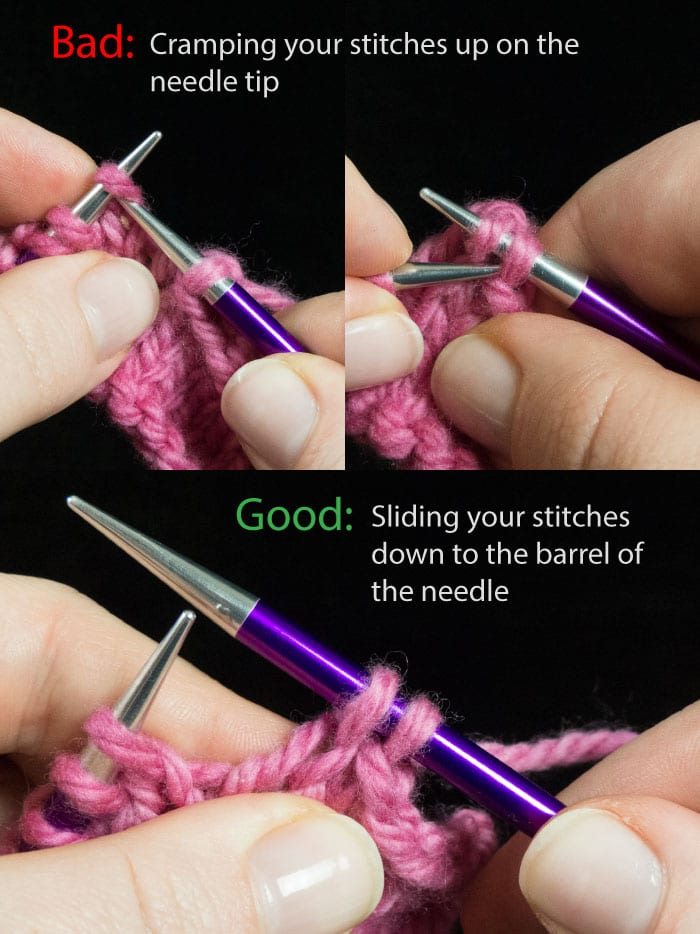 Slide your stitches down your needle