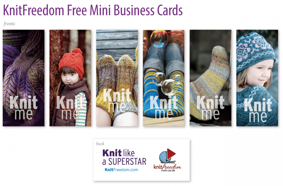 KnitFreedom Free Mini Business Cards