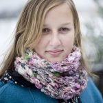 Magnolia Handspun photo - Aspen Ice Cowl - around neck