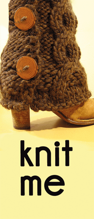 """KnitFreedom """"Mini Moo"""" business cards with legwarmers"""
