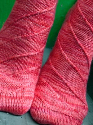 "Pink knit socks ""Berlin"" from Tangled Magazine Summer 2011 issue"