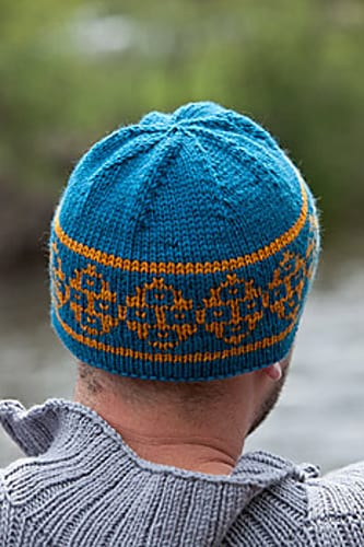 A knit hat with a hemmed edge