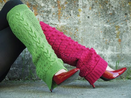 Pink and lime green knit and crochet legwarmers by Brittany Tyler of Tangled