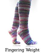 Pink striped fingering-weight socks
