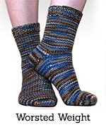 Blue ShiBui worsted-weight toe-up socks