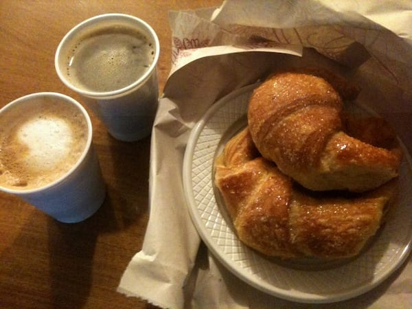 Two coffees and some croissants, to-go, Argentina-style