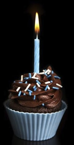 Cute Chocolate Cupcake with One Candle