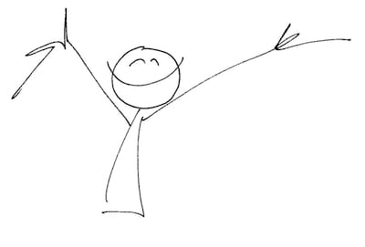 A cute happy stick figure by Liat