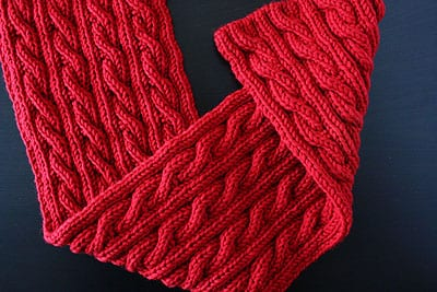 "Red ""Palindrome"" Reversible Cable Scarf by notmartha.org"