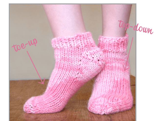 Bulky weight socks toe up and top down versions