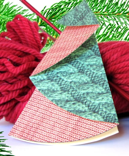 Folded paper Christmas tree with yarn