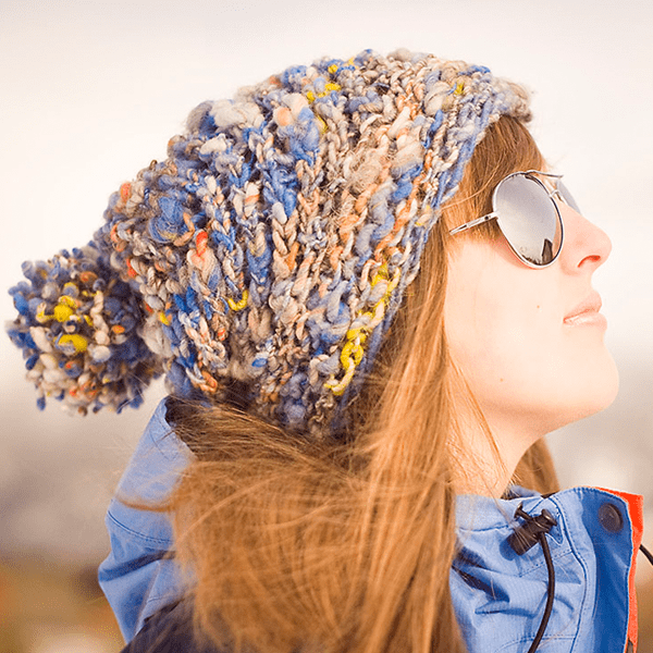 Easy knit hat - aspen ice hat side view