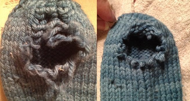 worn-out hole in knitted sock getting repaired