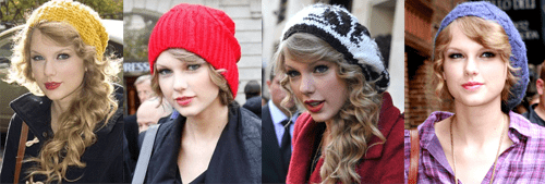 Taylor Swift wearing four different slouchy knit hats