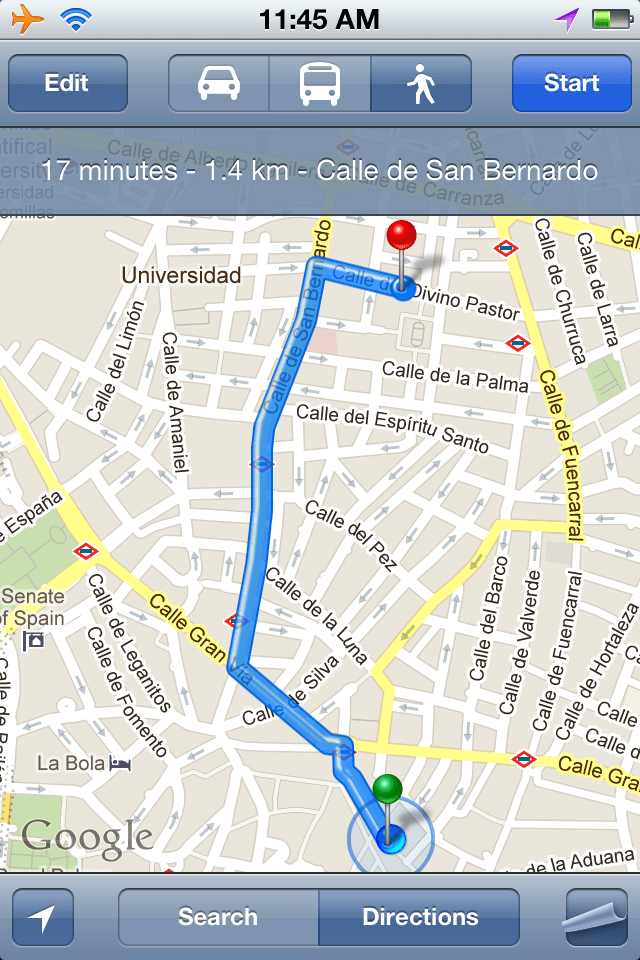 Screenshot of iPhone maps app showing directions to Bikram Yoga in Madrid
