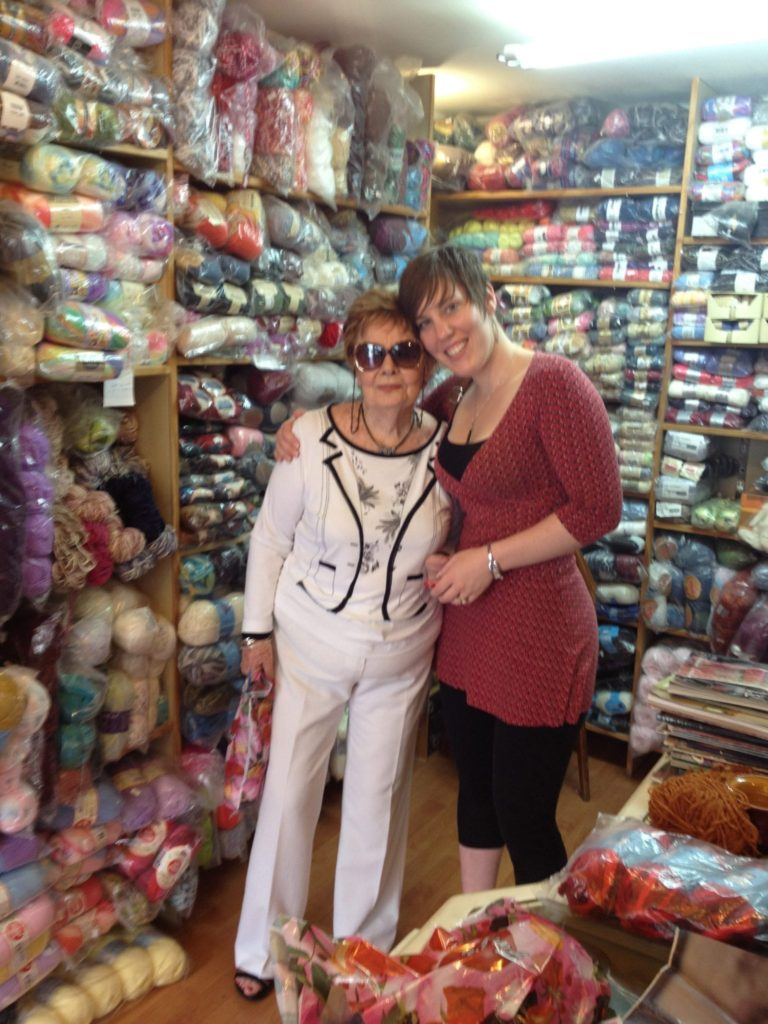 Liat and her grandma in a yarn store in Tel Aviv, Israel