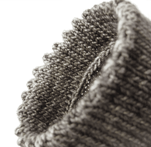 gray toe-up sock with a picot hem bind-off edge