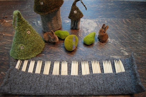 """Fairy Castles"" felted needle-holders"