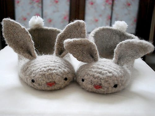 Hopsalots bunny slippers by Tiny Owl Knits