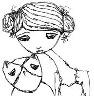 A Stephanie Dosen sketch - girl with tiny owl