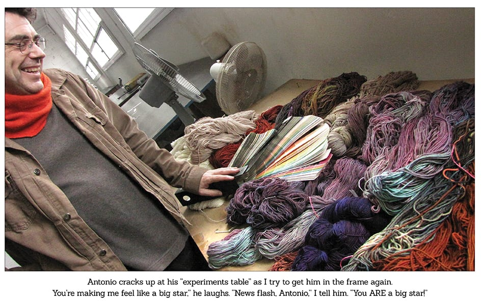 Antonio's color table at malabrigo yarns uruguay