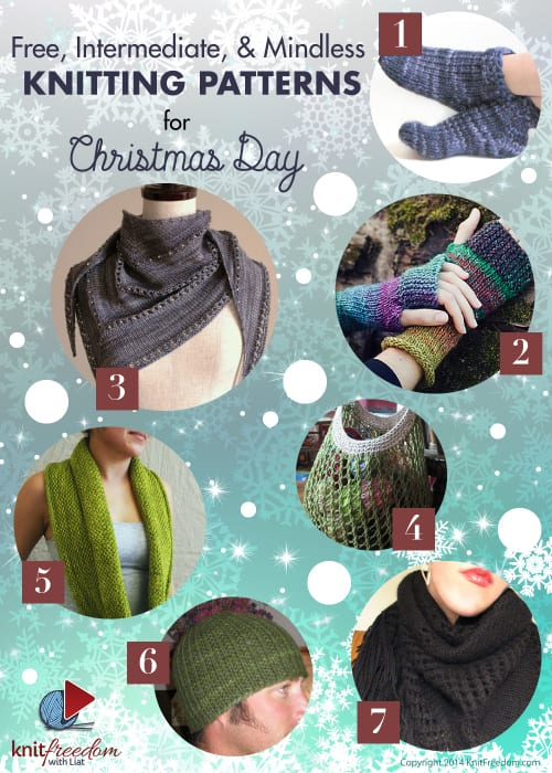 7 Free, Intermediate, & Mindless Knitting Patterns for Christmas Day