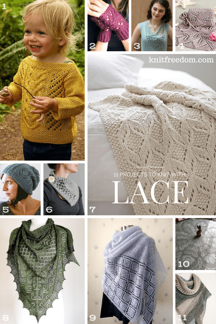 Graphic of 11 beautiful lace projects I recommend, from beginner to advanced
