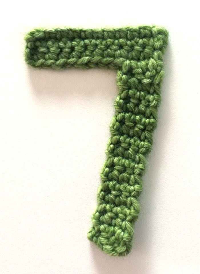 Green Crocheted Number 7